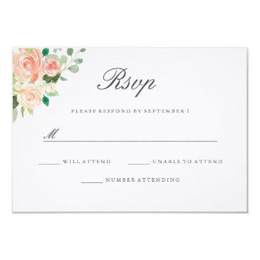 peach blush watercolor floral wedding rsvp