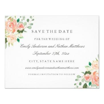 peach watercolor floral wedding save the date