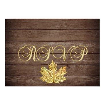 Small Personalized Rustic Wood Country Fall Rsvp Wedding Invitation Front View