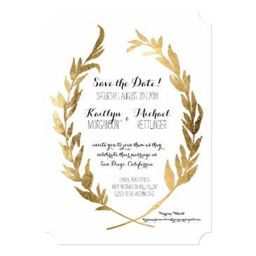 photo save the date laurel wreath olive gold leaf