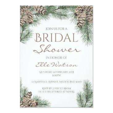 pine cone bridal shower invitation, winter wedding