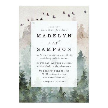 Small Pine Tree Forest Rustic Watercolor Themed Wedding Invitation Front View