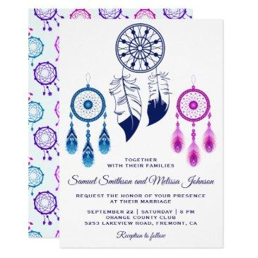pink blue dream catcher wedding invitation