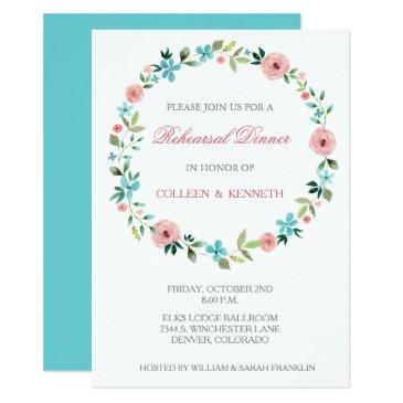 pink blue floral wreath wedding rehearsal dinner