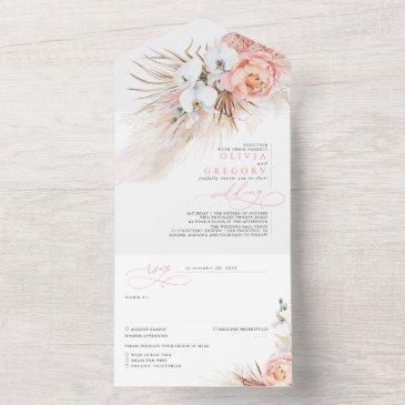 pink blush flowers and pampas grass exotic wedding all in one invitation
