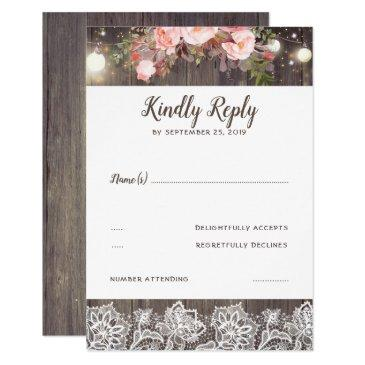 pink flowers and lace rustic rsvp
