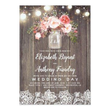 Small Pink Flowers Mason Jar Rustic Lace Wedding Invitationss Front View
