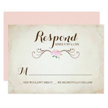 pink we got married deer antler rsvp invitation
