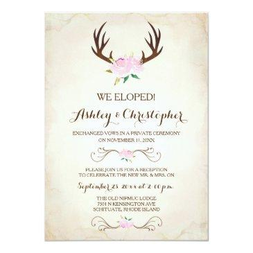 Small Pink We Got Married Invitation ~ Deer Antlers Front View