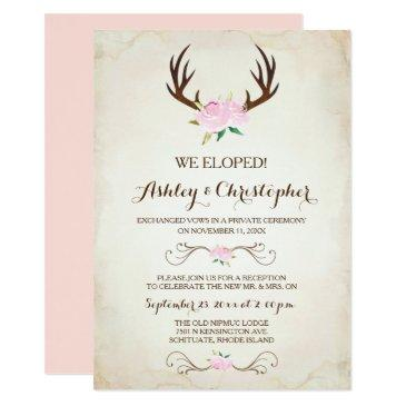 pink we got married invitations rustic deer antlers
