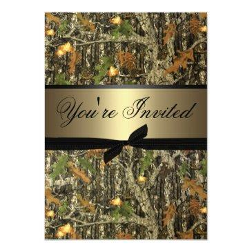 Small Plain Camo Wedding Invitations Front View