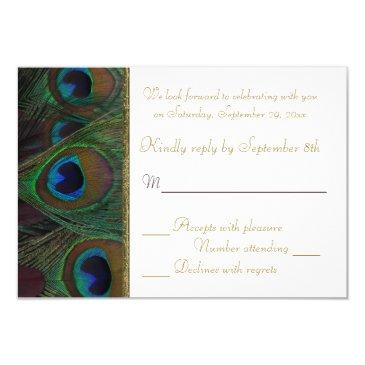plum, gold peacock feathers rsvp