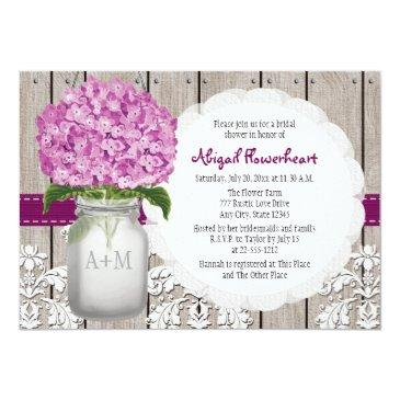 plum hydrangea mason jar bridal shower