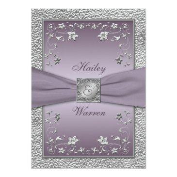 Small Plum, Pewter Floral Monogrammed Wedding Invite 2 Front View