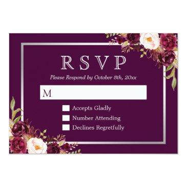 Small Plum Purple Floral Silver Grey Wedding Rsvp Invitationss Front View