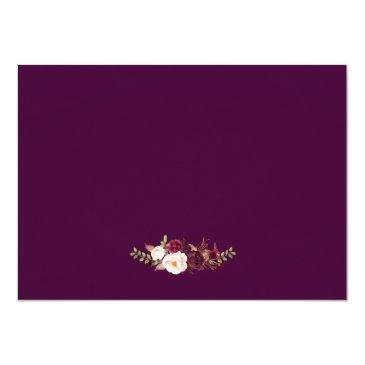 Small Plum Purple Floral Silver Grey Wedding Rsvp Invitationss Back View