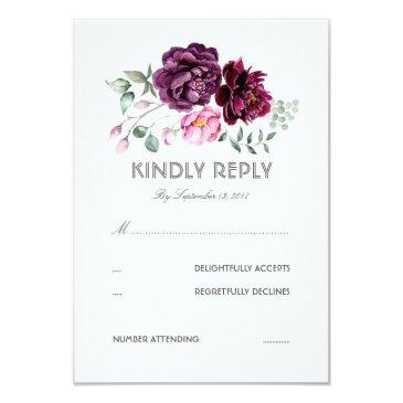 plum purple flowers watercolor wedding rsvp
