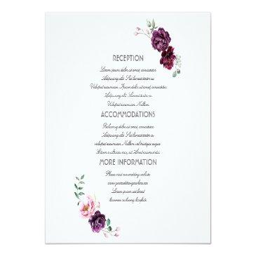 Small Plum Purple Flowers Wedding Information Guest Front View
