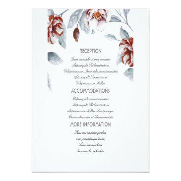Small Plum Purple Flowers Wedding Information Guest Invitationss Front View