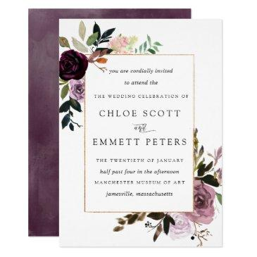plum purple mauve pink floral wedding
