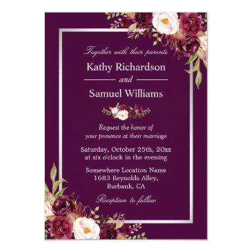 Small Plum Purple Rustic Floral Silver Gray Fall Wedding Front View