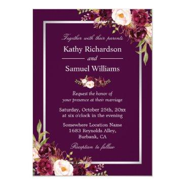 plum purple rustic floral silver gray fall wedding
