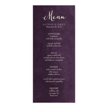 Small Plum Purple Wedding Menu Front View