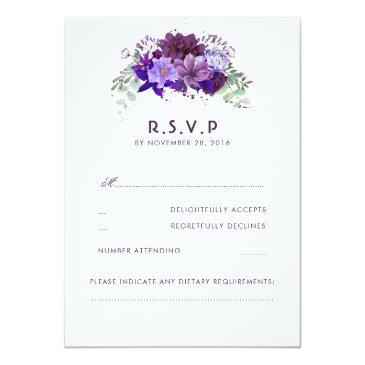 Small Plum Violet Flowers Elegant Wedding Rsvp Front View