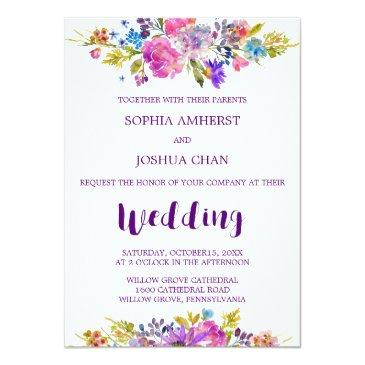Small Plum Wedding Invitation  With Monogram Backing Front View
