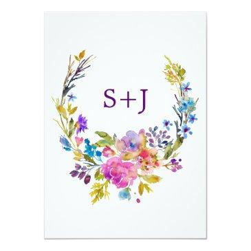 Small Plum Wedding Invitation  With Monogram Backing Back View