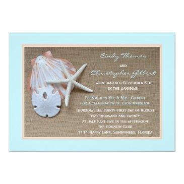 Small Post Wedding Reception Invitationss - Beach Burlap Front View