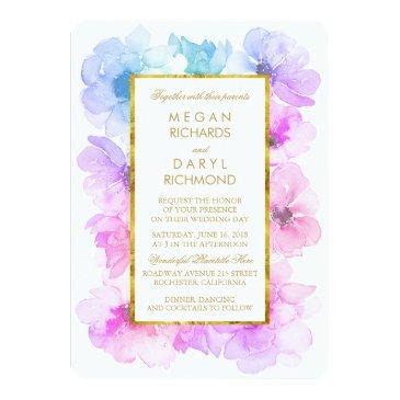 purple and blue floral gold frame