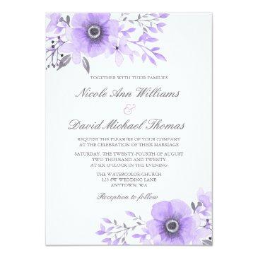 purple and gray watercolor anemone wedding