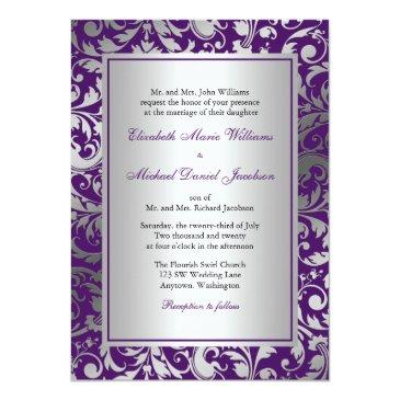 purple and silver damask swirls wedding