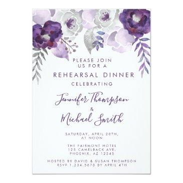 purple and silver watercolor rehearsal dinner