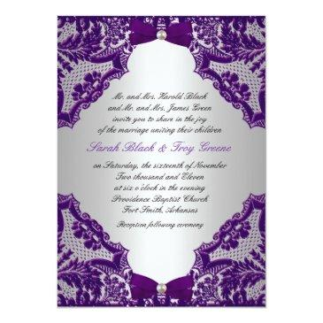 Small Purple And Silver Wedding Invitations Front View