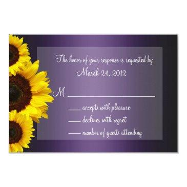 purple and yellow sunflower wedding rsvp
