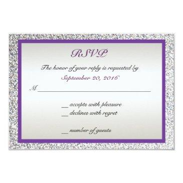 purple - elegant glitter wedding rsvp