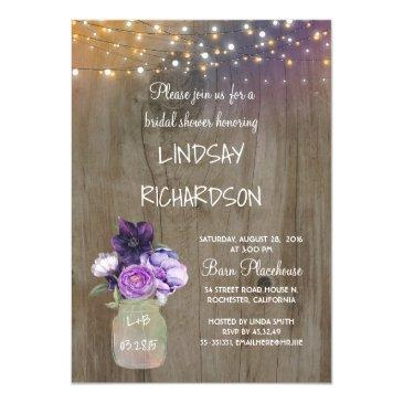 purple floral mason jar rustic barn bridal shower