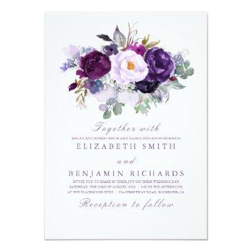 Small Purple Floral Watercolor Wedding Invitationss Front View
