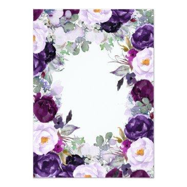 Small Purple Floral Watercolor Wedding Invitationss Back View