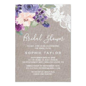 purple flowers and lace bridal shower
