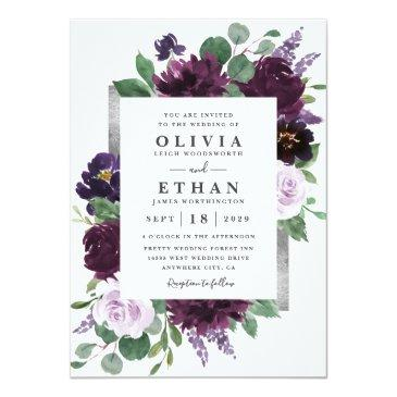 Small Purple Gray Silver Watercolor Peony Fall Wedding Invitation Front View