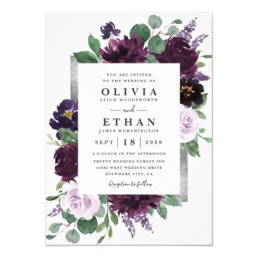 purple gray silver watercolor peony fall wedding invitation