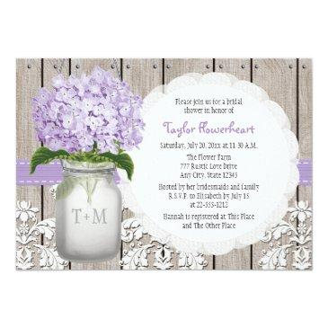 Small Purple Hydrangea Monogram Mason Jar Bridal Shower Invitation Front View