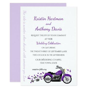 purple motorcycle and hearts wedding