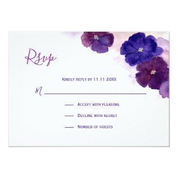 Small Purple Plum Blue Watercolor Floral Rsvp Wedding Invitationss Front View