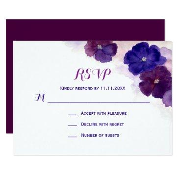 purple plum blue watercolor floral rsvp wedding