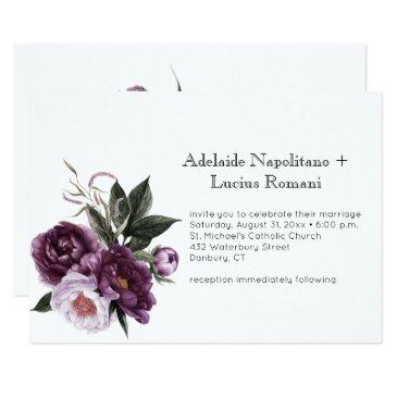 purple plum pink floral watercolor wedding