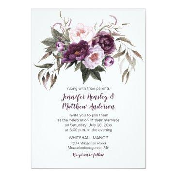 Small Purple Plum Pink Watercolor Floral Wedding #3 Invitationss Front View